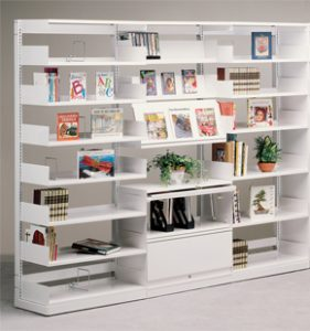 White library shelf
