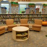 children's reading are with orange chairs