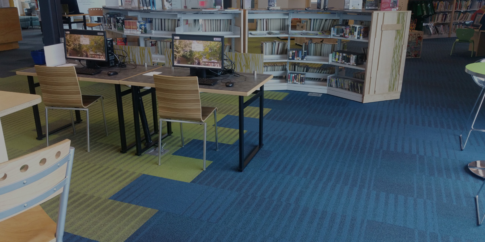 blue & green carpeted children's libary