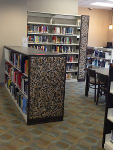 wood & tiled book shelves